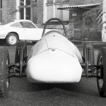 Formula Vau car 1965 in the yard of factory 1 at Porsche (left)